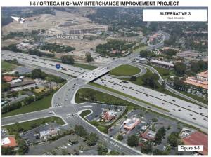 "Rendering of the Redesigned 5/Ortega Interchange and the Ortega ""Super Curve"" onto Del Obispo"