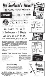 Advertisement for Cliff May Tract in Anaheim