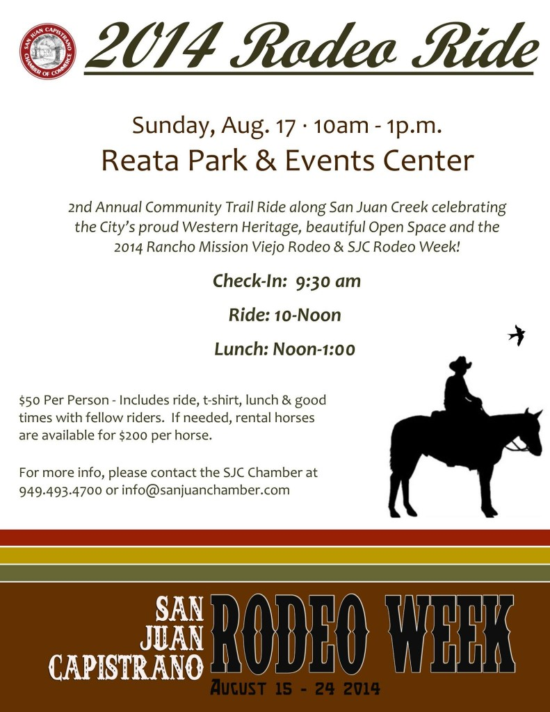2nd Annual Rodeo Ride On Sunday August 17th At Reata Park